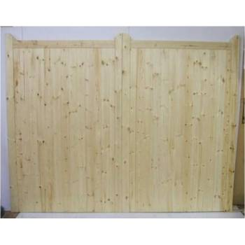 "Bespoke Softwood Square Top Gates With Horns  84""x144"" Wooden Timber Driveway"