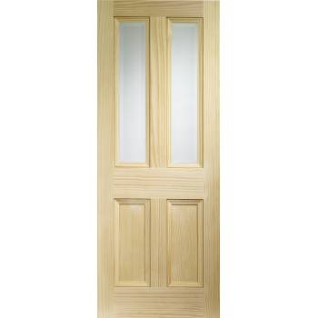 Pine Edwardian Glazed 4 Panel Internal Door Wooden Timber Interior