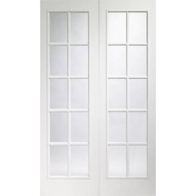 Portobello Pair Internal Pre-Finished White Moulded Door wit...