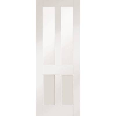 White Primed Malton Shaker Clear Glazed Internal Door Interi...