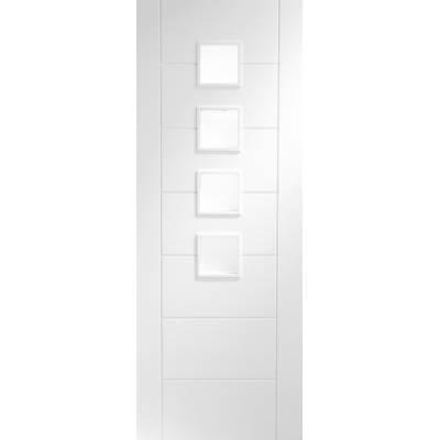 White Primed Palermo Obscure Glazed Internal Door Interior -...