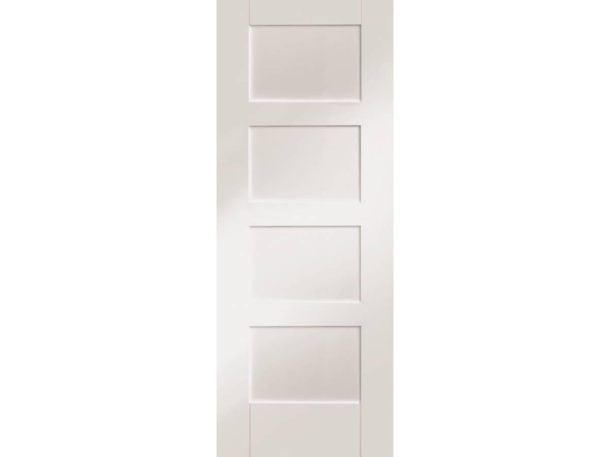White Primed Shaker 4 Panel Internal Fire Door Interior