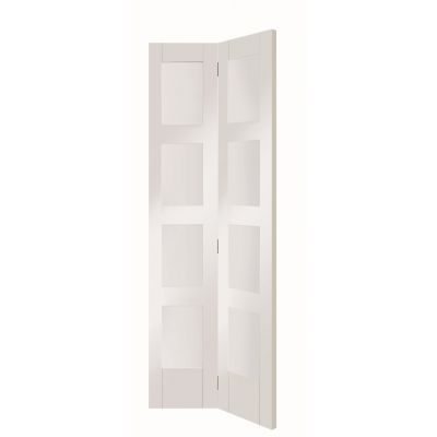 White Primed Shaker 4 Light Glazed Internal Bi-Fold Bifold D...