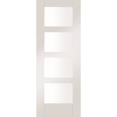 White Primed Shaker 4 Light Clear Glazed Internal Door Inter...