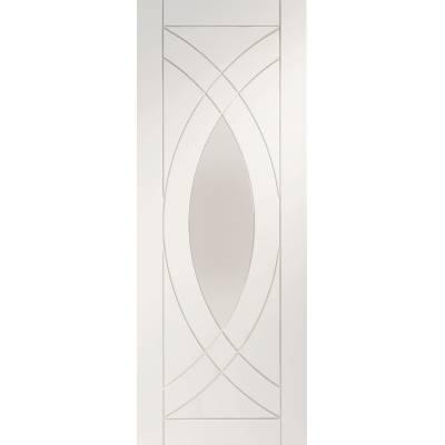 White Primed Treviso Glazed Internal Door Interior - Size, H...