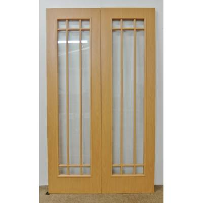 Beech Foil Faced Internal 9 Light French Door Pair 78x46&quo...