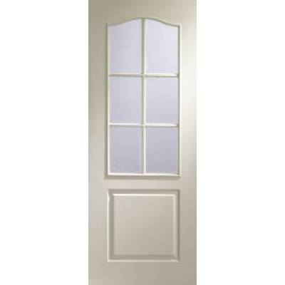 Classique 6 Light Internal White Moulded Door with Clear Bevelled Glass  - Door Size, HxW: