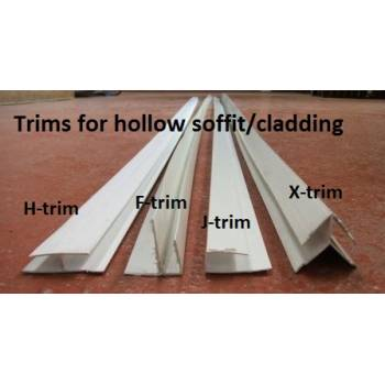 Trims for hollow soffit/cladding